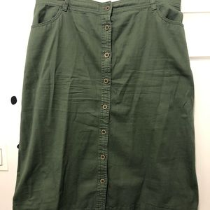 Army green A line skirt size 12 plus